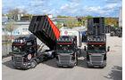 Altreifenlogistik mit Traumlastern, Scania, R 480, Abrollcontaineraufbau, Anhängern, Hüffermann