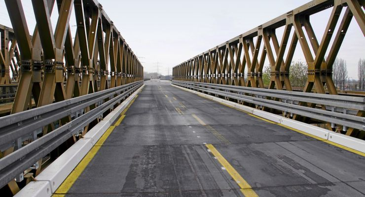 Brücke, Behelfsbrücke, Baustelle, Sperrung