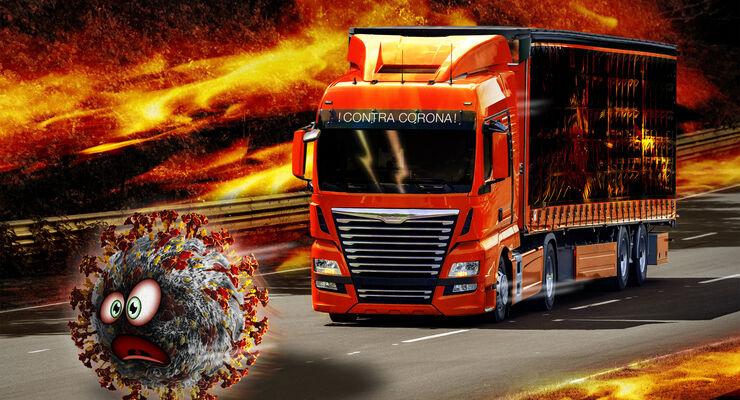 Corona, Virus, Krise, Flächenbrand, Covid-19, MAN presents the new generation of trucks in February 2020: TGL, TGS, TGX and TGM (from left). MAN präsentierte im Februar 2020 seine neue Lkw-Generation: TGL, TGS, TGX und TGM (von links)