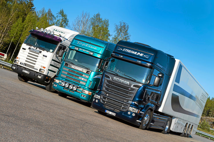 Drei Generationen Scania-Lkw, Streamline, Topline, Ahrens