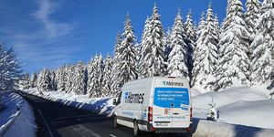 Hermes-Transporter im Winter