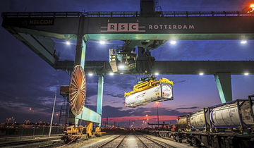 Industrial photography of the LNG Container that can be transported by truck and by train. Photographed at RSC Containers in Waalhaven, Rotterdam.