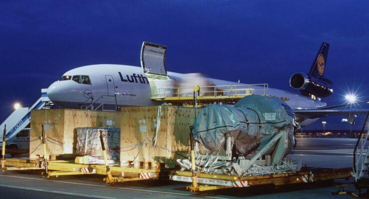 Lufthansa, Cargo, Nacht, Fracht, Flughafen, Flugzeug