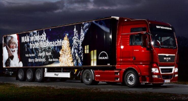 MAN-Weihnachtstrucks sind auf Tour