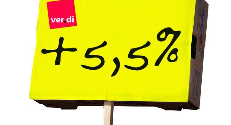 Schild, Verdi, 5,5 Prozent
