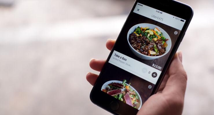 UberEats App zum Bestellen von Essen.