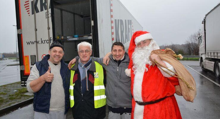 Weihnachtsmann, Lkw-Parkplatz, Fahrer